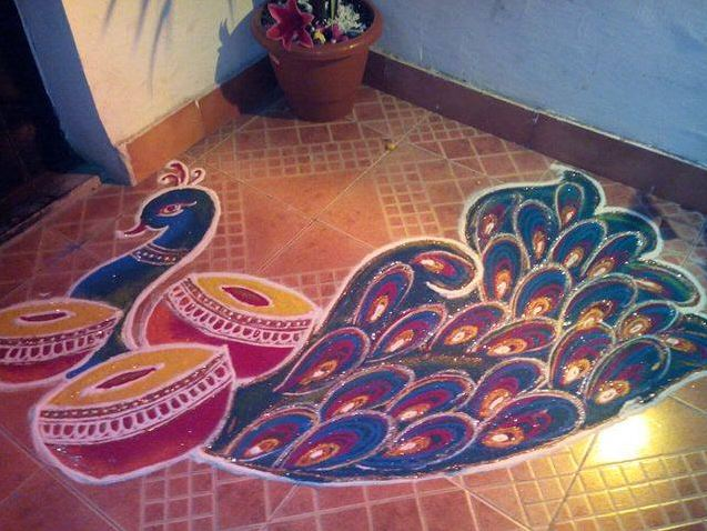 Beautiful Rangoli Designs of Peacock