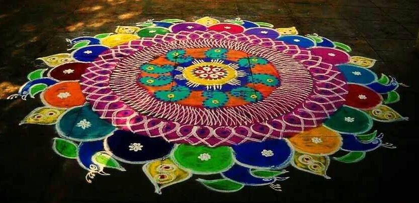 Peacock Rangoli Designs For Diwali Rangoli Designs 2016