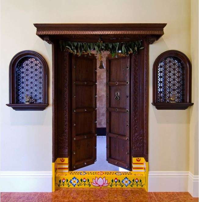 Pooja room door designs pooja room designs and decor for Traditional main door design
