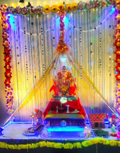 Ganpati Decoration Ideas For Home : Ganesh chaturthi decoration ideas pooja decor