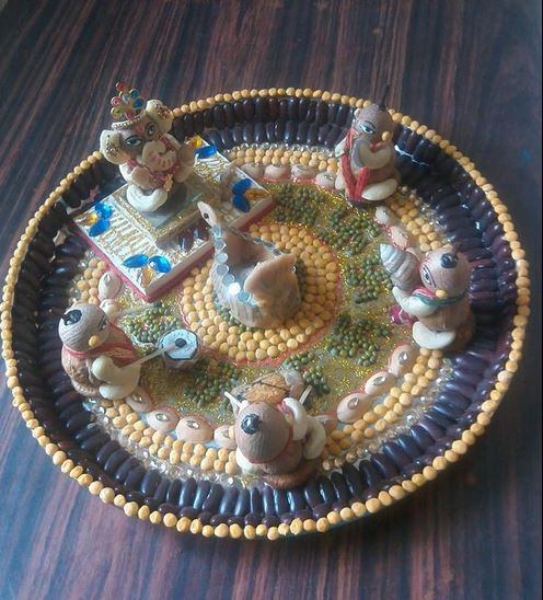 Ganpati decoration ideas pooja room and rangoli designs for Aarti thali decoration ideas for ganpati
