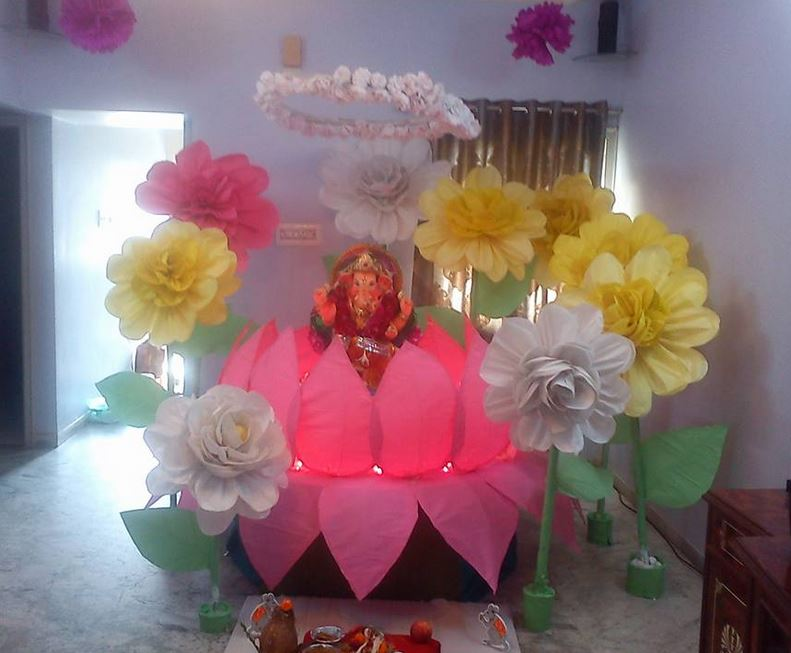 Ganpati Decoration Ideas Ganesh Pooja Ganpati Decoration At Home Ganesh Chaturthi Decor