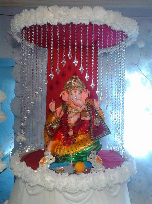 Ganpati decoration ideas ganesh pooja ganpati for Background decoration for ganpati