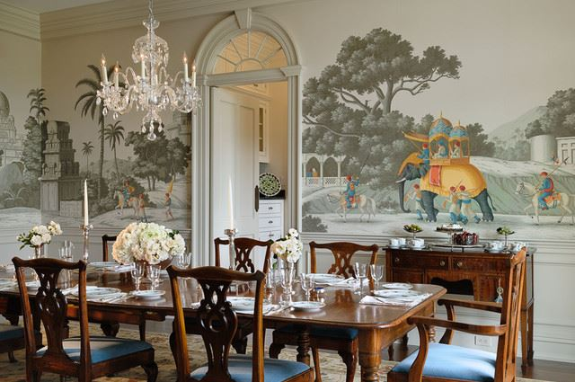 Dining Room Interior Design Ideas-Hand Painted Wallpaper