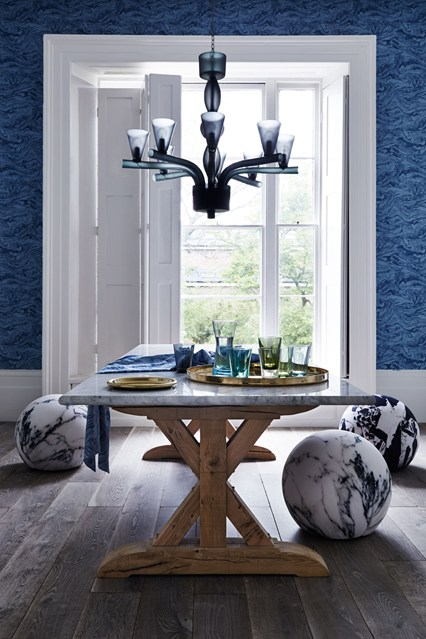 Dining Room Interior Design Ideas-Blue Room with Marble Chairs