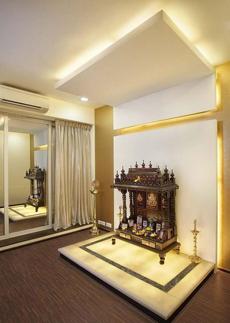 Pooja Room Designs in Hall - Pooja Room | Home Temple | Pooja Ghar ...
