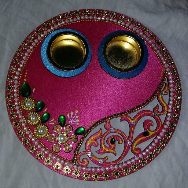 Pinterest the world s catalog of ideas for Aarti thali decoration pictures navratri