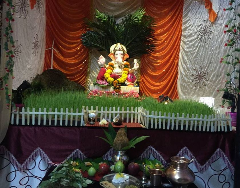 Ganpati decoration ideas at home pooja room decoration for Artificial flower decoration for ganpati