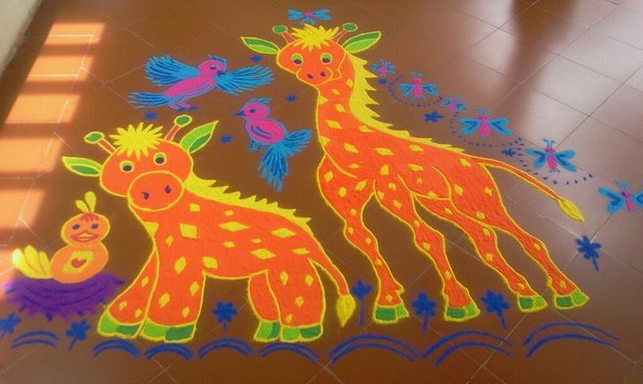 Cartoon Rangoli Designs