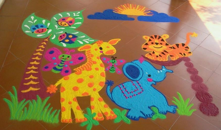 Cartoon Rangoli Designs for New Year
