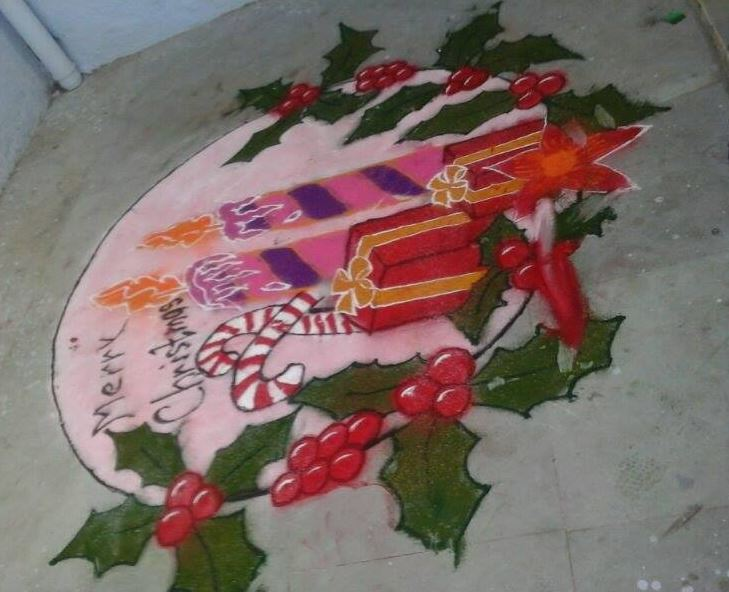 Rangoli Designs for Christmas Competition