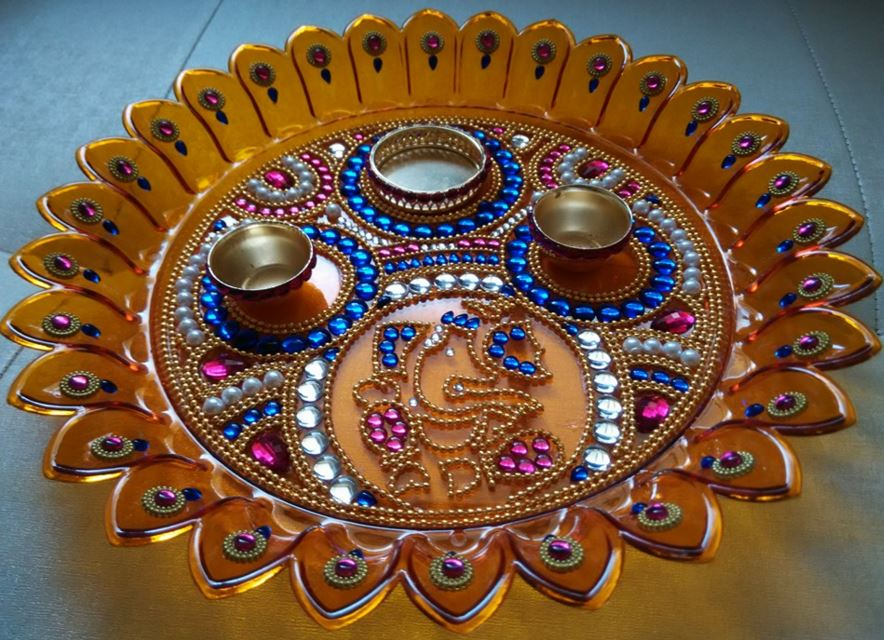 Pooja thali designs pictures joy studio design gallery for Aarti thali decoration ideas for competition