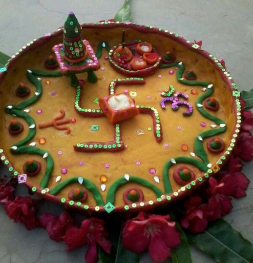 Aarti thali decoration pooja room pooja thali for Aarti thali decoration with clay