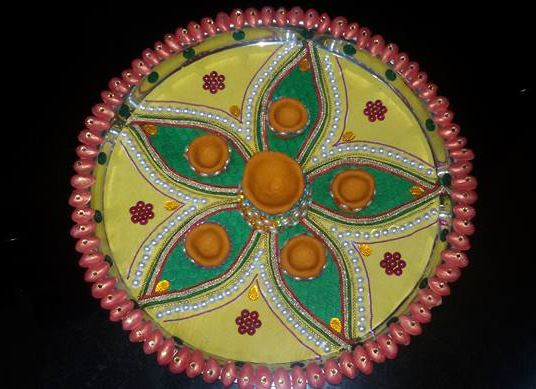 The gallery for simple ganpati decoration ideas at home for Aarti thali decoration pictures