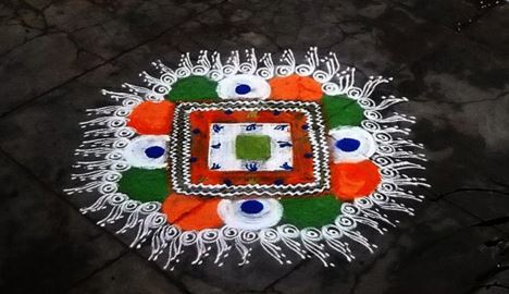 Free Hand Republic Day Rangoli Kolam Designs