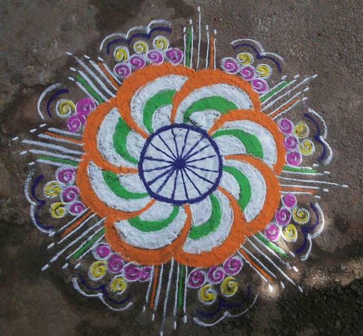 Independence day and Republic Day Kolam Designs