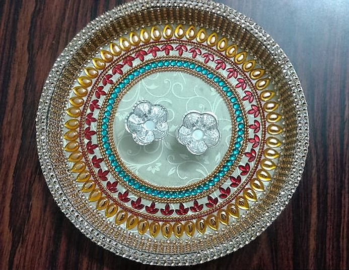 Diy aarti thali aarti thali pooja thali pooja thali for Aarti thali decoration designs