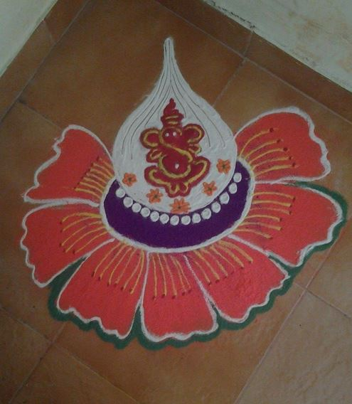 Ganpati Rangoli Designs Easy