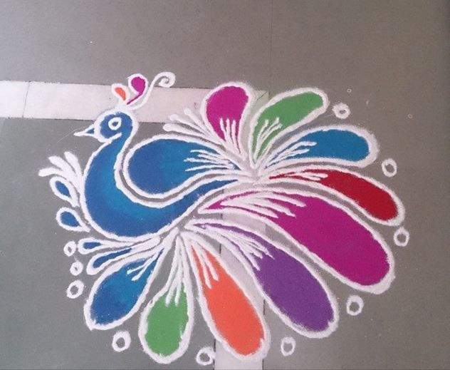 Peacock Rangoli Designs Easy