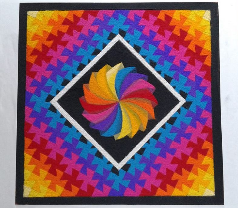 Three Dimension Theme Rangoli Design For Competition