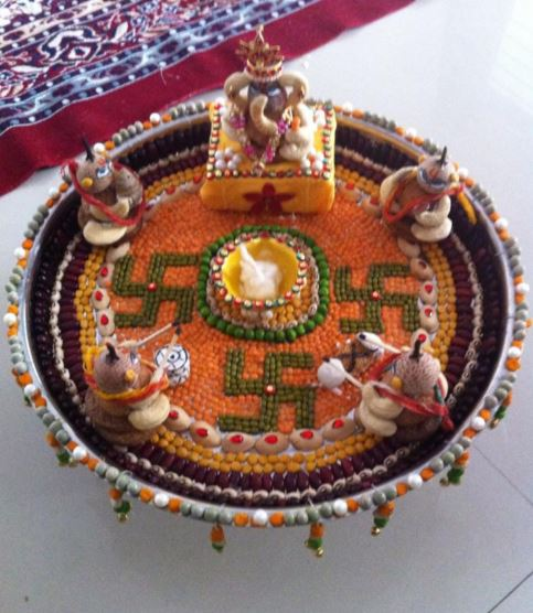 Aarti thali decoration ideas for ganpati aati thali decor for Aarti thali decoration with grains