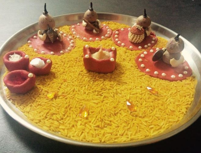 Aarti thali decoration ideas for ganpati aati thali decor for Aarti thali decoration with clay