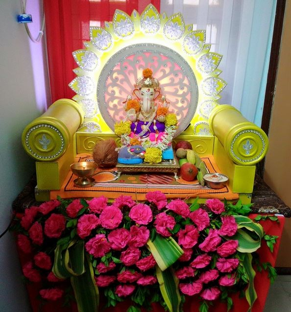 Homemade Ganpati Decoration Ideas Ganesh Pooja Ganpati Decoration For Home Ganesh