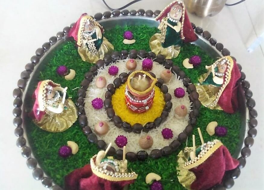 Navratri aarti thali decoration ideas durga pooja thali for Aarti thali decoration designs