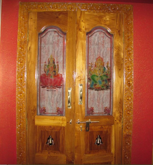 Captivating Glass And Wood Door Design. Pooja Room Door Part 24